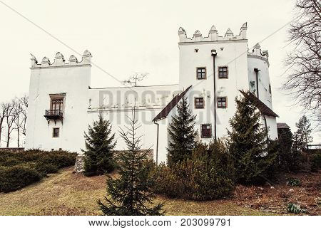 Beautiful chateau Strazky Slovak republic. Cultural heritage. Architectural theme. Old photo filter.