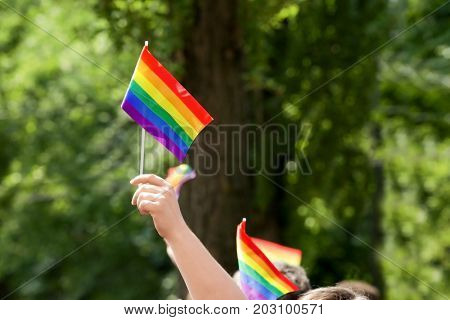 Concept of sexual minority. Man holding gay rainbow flag outdoors