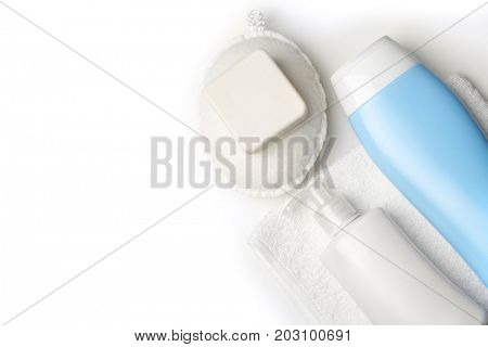 Bath accessories and cosmetics on white background