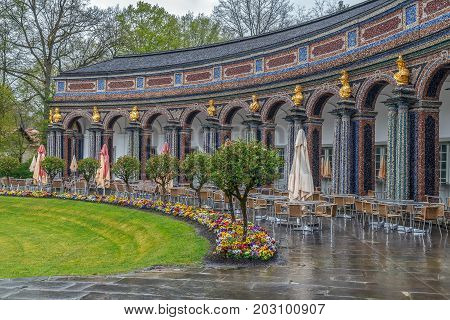 New Palace in Hermitage garden Bayreuth Germany. Arcade poster