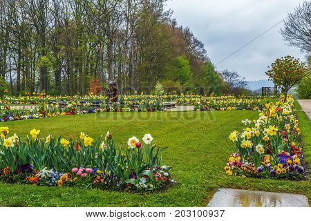 Flowerbed in Hermitage garden in Bayreuth Germany