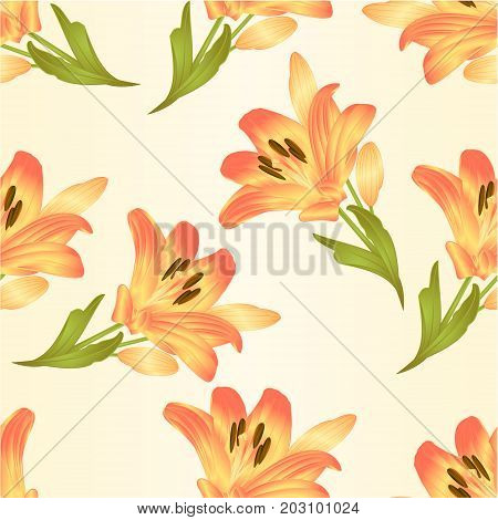 Seamless texture yellow lily flower with leaves and buds vintage vector illustration editable Hand drawn