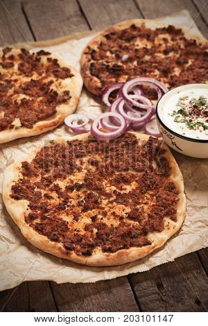Lahmacun, turkish meat and pastry street food similar to pizza