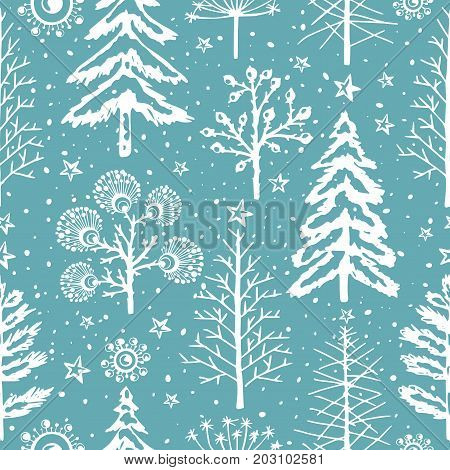 Winter seamless Christmas pattern for design packaging paper, postcard, textiles. The pattern with the image of fir-trees, trees, bushes covered with snow