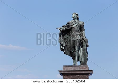 The statue of the Swedish king Gustav III located at Skeppsbrokajen near the Royal Palace in Stockholm. This statue was created by Johan Tobias Sergel (1740-1814) and erected in 1808.