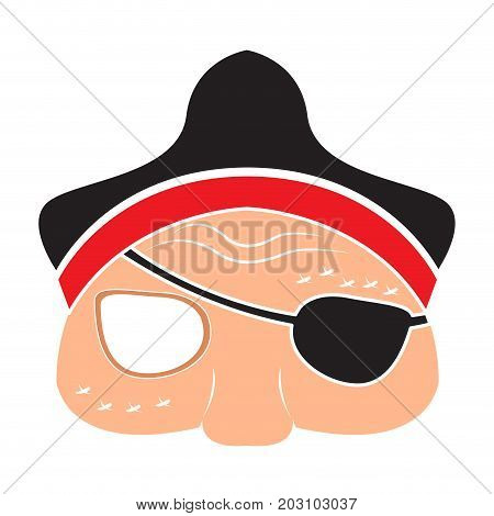 Isolated halloween pirate mask on a white background, Vector illustration