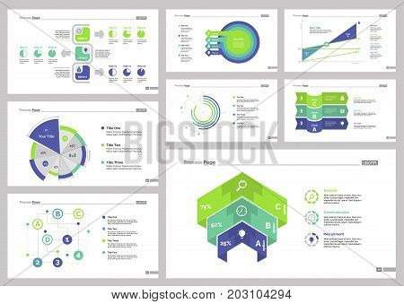 Infographic design set can be used for workflow layout, diagram, annual report, presentation, web design. Business and statistics concept with process, area, pie, doughnut, line and percentage charts.