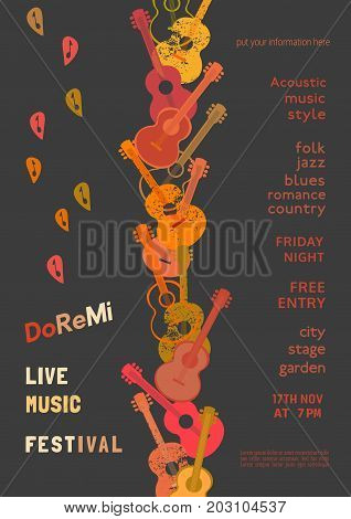 Template Design Poster with acoustic guitar silhouette autumn leaves. Design idea for Live Music Festival show promotion advertisement. Vintage style. Easy to edit and change text. Vector illustration