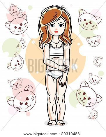 Sweet little redhead girl standing on childish background with kittens and wearing panties. Vector kid illustration.