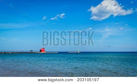 On Lake Michigan the lighthouse at Sturgeon Bay Wisconsin.