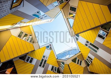 ROTTERDAM, NETHERLANDS - August 06, 2017: View from below on the famous cube house designed by architect Piet Blom in Rotterdam