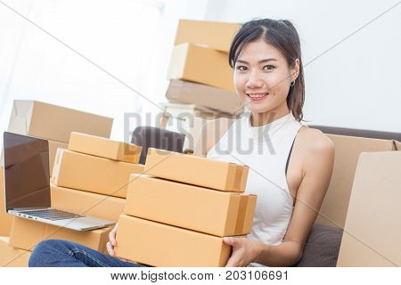Young Asian Woman Working At Home, Young Owner Woman Start Up For Business Online, Sme, Delivery Pro
