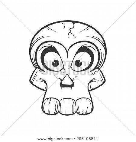 cartoon Halloween skull isolated on white background