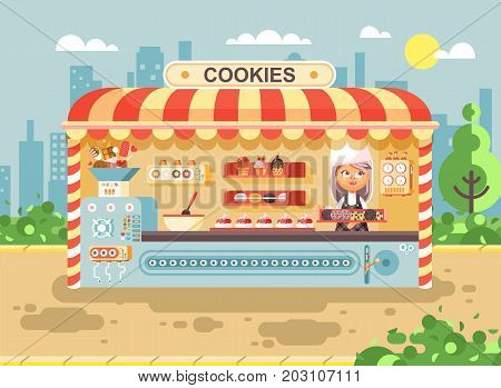 Stock vector illustration cartoon character child pupil, schoolgirl little seller girl manufactures baking cookies, cooking business sale muffins, cupcakes, cakes, sweets, pastries, biscuit flat style
