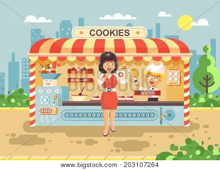 Stock vector illustration cartoon characters child pupil schoolboy seller boy sales to woman muffin, cupcake, cake, sweet, pastries, biscuit manufactures of baking cookies, cooking business flat style