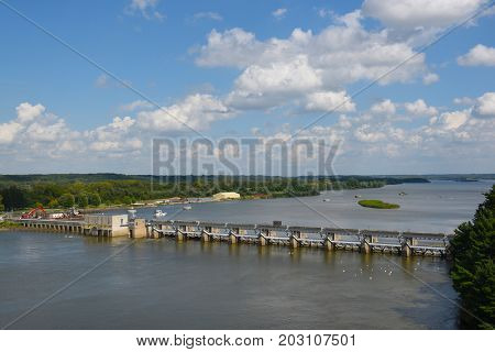 UTICA, ILLINOIS - SEPTEMBER 6, 2016: Starved Rock Lock and Dam. Also know as Lock and Dam No. 6, on the Illinois River, is managed by the Army Corps of Engineers.