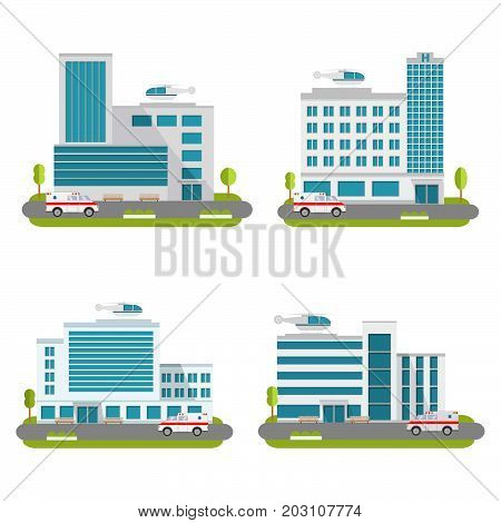 Set of the modern medical centers of rendering ambulance. Hospital with car and helicopter.Ambulatory care.Medical help.Healthcare facility.Flat style a vector.City Hospital and Clinic building