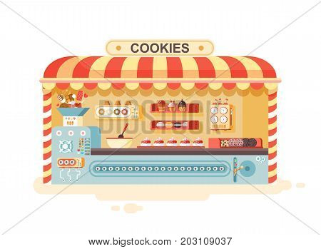 Stock vector illustration cartoon isolated urban stall cooking business manufacture of baking cookies for sale, shelves with cupcake, cake, sweet, pastries, biscuit, muffin flat style white background