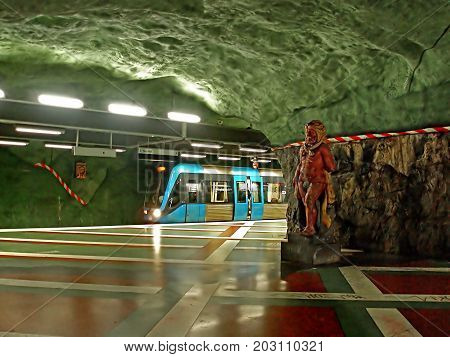 STOCKHOLM, SWEDEN - OCTOBER 01, 2006: Kungstradgarden station of the Stockholm metro located in the district of Norrmalm. It is the end station of line 10 and line 11 and was opened on 30 October 1977 as the 91st station in Stockholm, Sweden