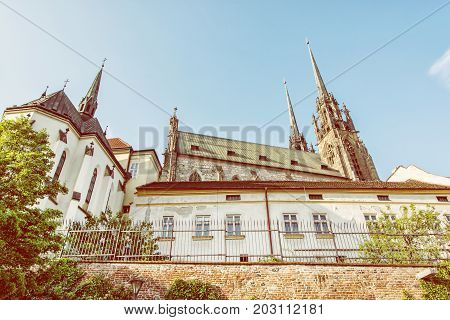 Cathedral of St. Peter and Paul Brno Moravia Czech republic. Religious architecture. Travel destination. Beautiful place. Yellow photo filter.