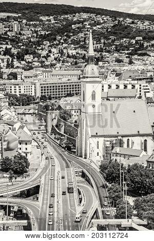 Saint Martin's cathedral in Bratislava Slovak republic. Architectural theme. Capital city. Cultural heritage. Travel destination. Black and white photo.