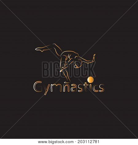 Girl - gymnast with a ball. Icon, emblem, sign in a linear style. The background is black. Banner of gymnastics. Olympic gymnast woman. Vector images for sports, dance, fitness studios.