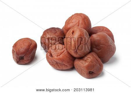 Traditional Japanese umeboshi on white background