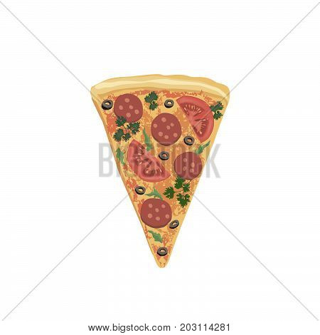 Pizza piece isolated. Food icon. Italian fastfood icon