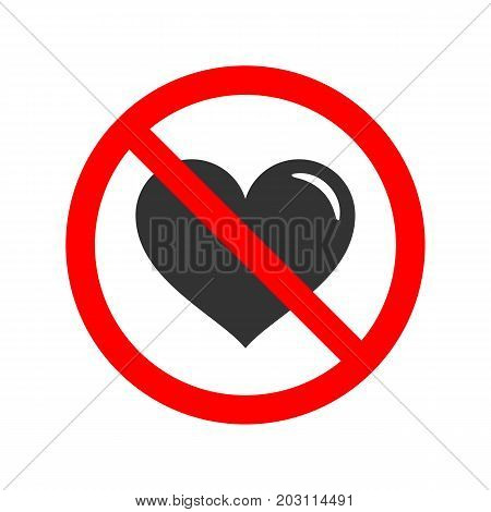 No love allowed simple flat vector sign.