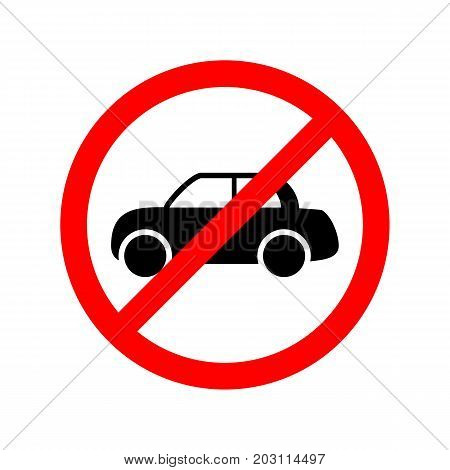 No car allowed simple flat vector sign.