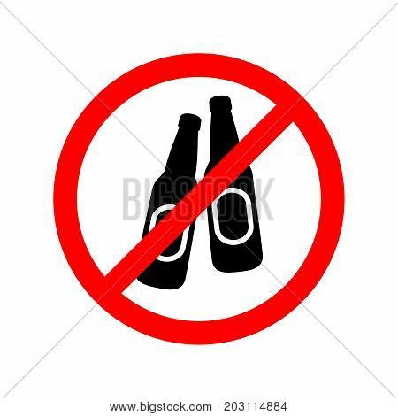 No alcohol drinks allowed flat vector sign.