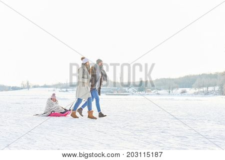 Family playing toboggan on the snow in winter