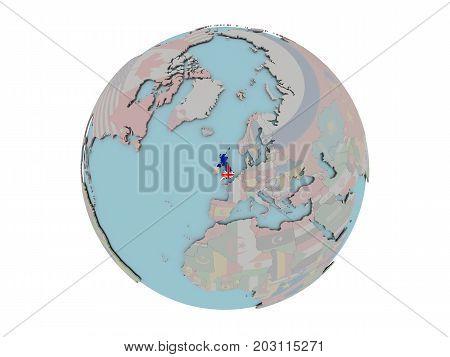 United Kingdom With Flag On Globe