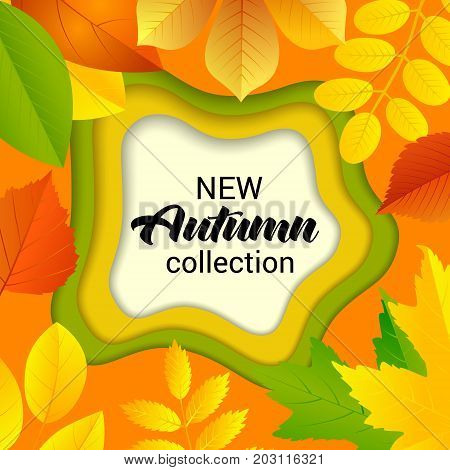 New Autumn collection Sale banner on the autumn leaves and melted background for shop advertising, posters, flyer, web. Cut paper art style vector illustration.