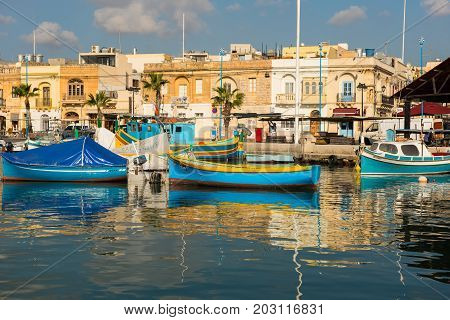 Marsaxlokk Fishing Village Harbor With Boats