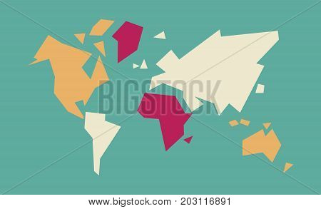 Abstract World Map Geometric Concept Illustration