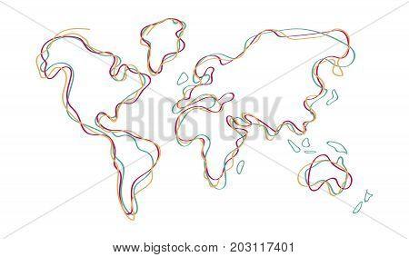 World Map Doodle Color Outline Hand Drawn Art