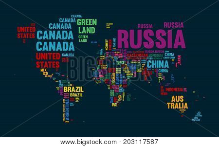 Text world map vector photo free trial bigstock typography color world map made of every country name concept text atlas design with continent shapes eps10 vector gumiabroncs Image collections