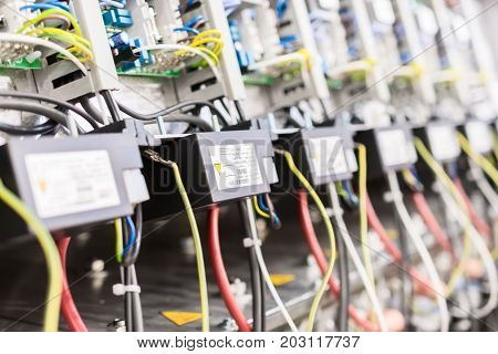 Electrical equipment. Abstract industrial background. Selective focus