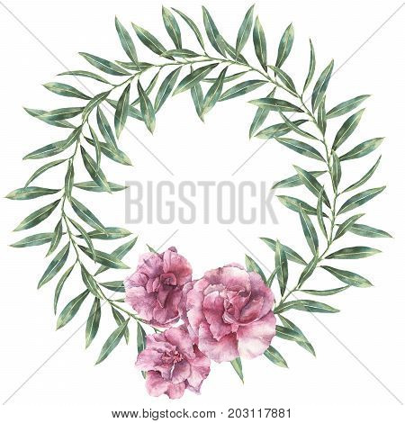 Watercolor floral wreath. Hand painted border with oleander flowers with leaves and branch isolated on white background. Botanical illustration for design, print, fabric