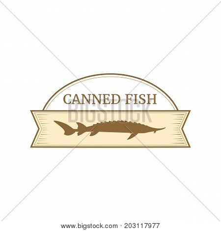 Vector logo template for fish preserves. Illustration e of sturgeon fish. Can be used for labels on canned fish. EPS 10. Design element for fish-menu banners.