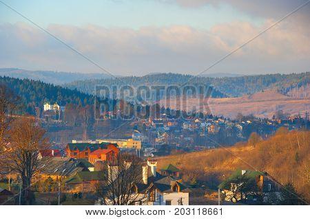 Carpathians Mountains Village Autumn Landscape