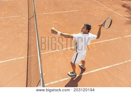 Confident sportsman wearing special clothes is going to make pitch. He standing at court. Top view. Copy space