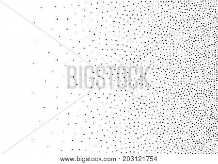 Abstract gradient halftone random dots background. A4 paper size, vector illustration, bw backdrop using halftone circle dots raster pattern texture.