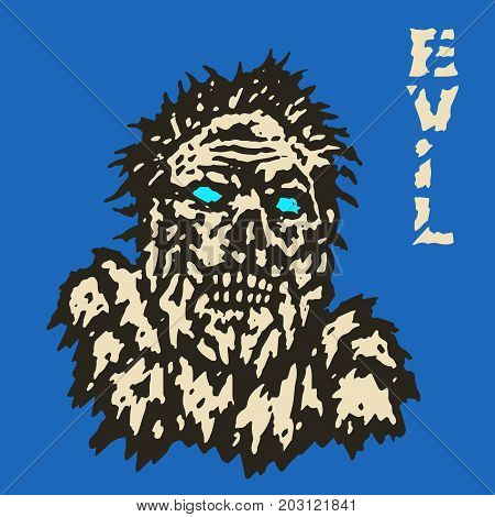 Angry zombie monster face. Horror image. Vector illustration. Genre of horror. Scary character evil head.