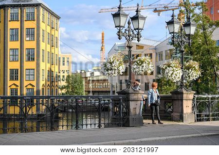 NORRKOPING, SWEDEN - AUGUST 26,2017: The old industrial landscape and Motala stream in Norrkoping. Norrkoping is a historic industrial town in Sweden.