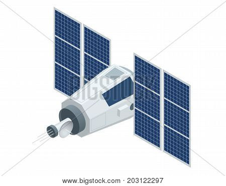 GPS satellite. Flat 3d vector isometric illustration. Wireless satellite technology. World global net. used for workflow layout, game, diagram, number options, web design and infographics