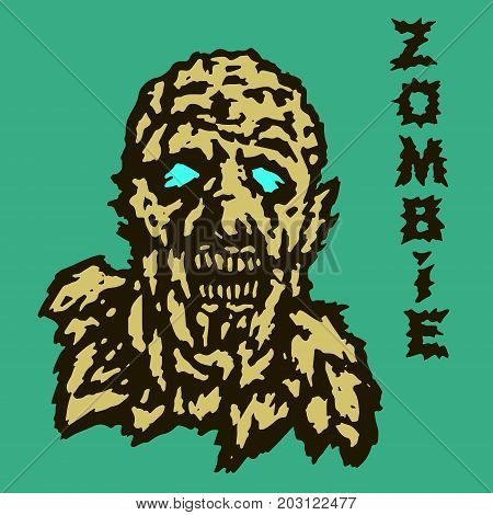 The head of the ghoul zombie. Vector illustration. The horror genre. Scary character face.