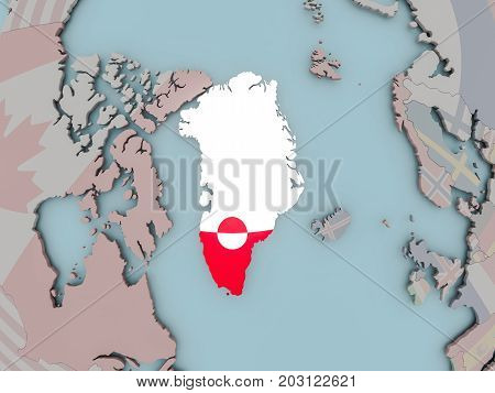 Greenland On Political Globe With Flag