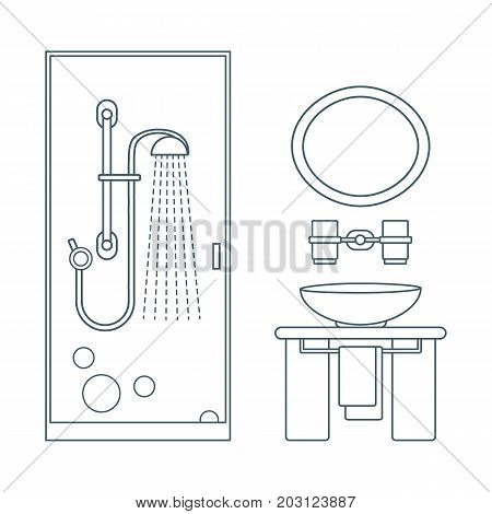 Cute vector illustration of bathroom interior design: shower cabin washbasin towel mirror and other. Design for poster or print.